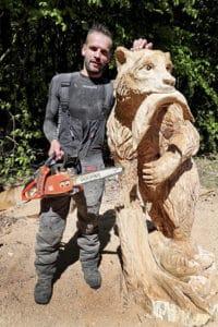 Boomkroonpad Sander Boom tijdens de Carving Cup Drouwen